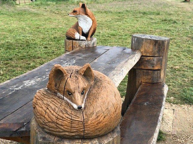 Wood carvings at Bramshot Farm Country