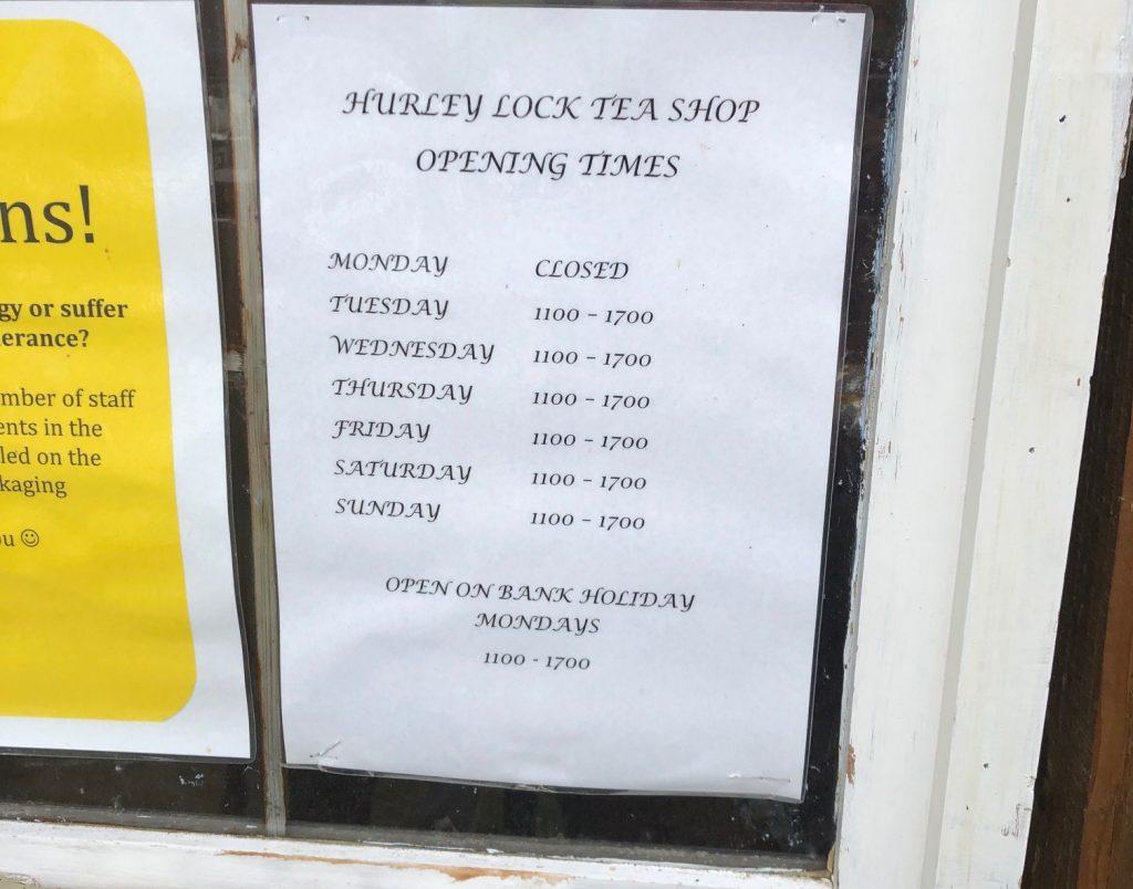 Hurley Tea Lock Shop Opening Times