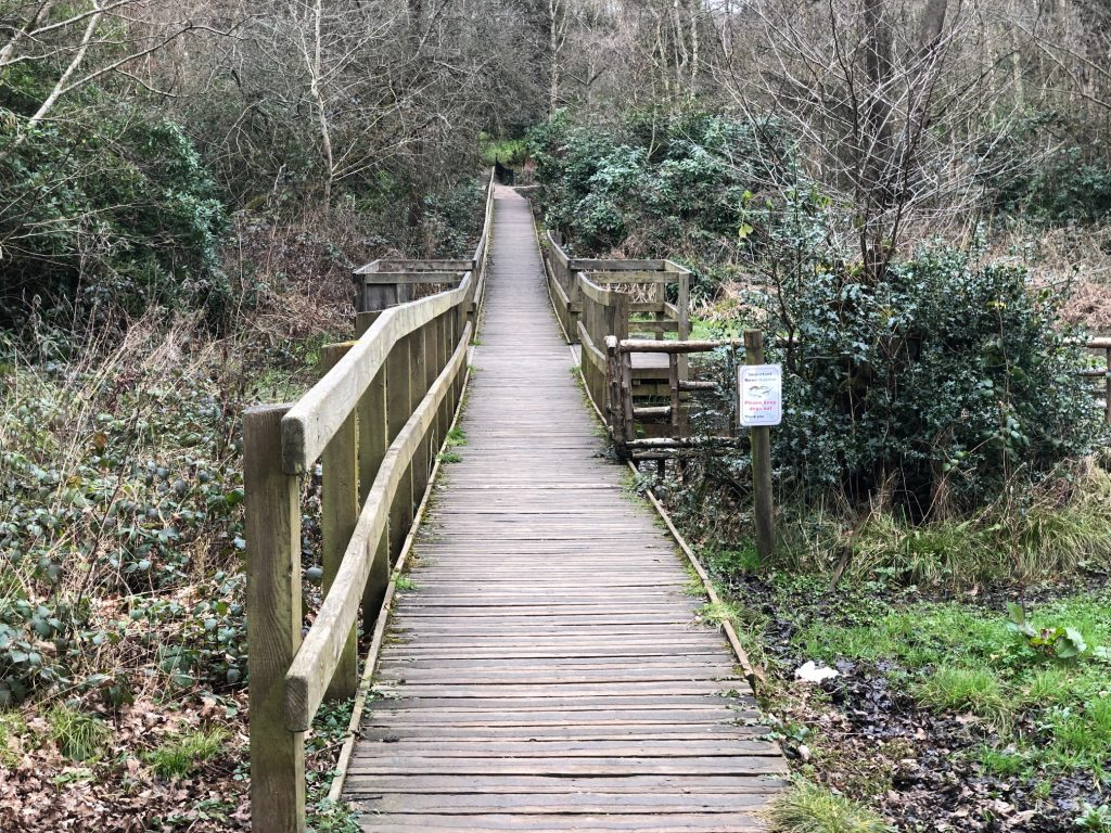 Boardwalk and Bridge at Lily Hill Park in Bracknell