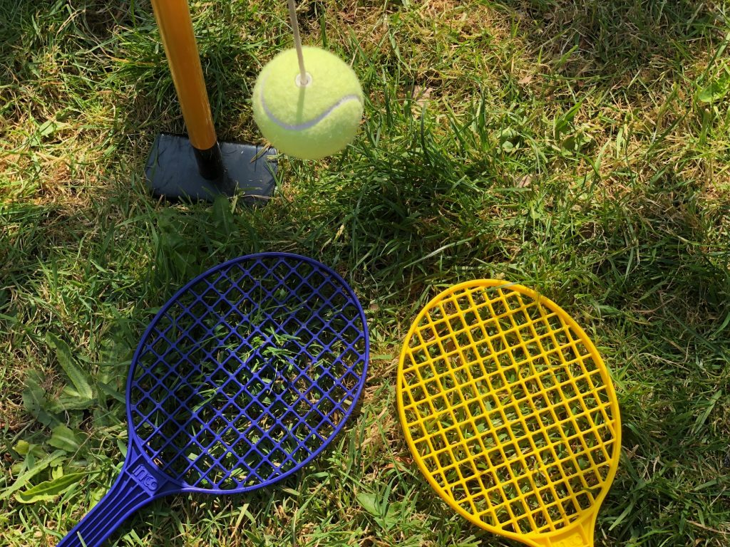 Swing Ball Tennis played during lockdown in the garden